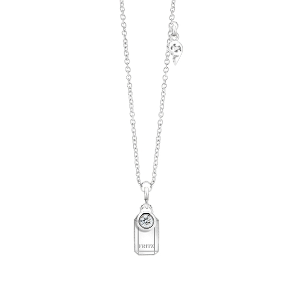 """Collier """"Poesia"""" 750WG, mit einem personalisierbaren rechteckigen Tag und zwei beweglichen Diamanten 0.04ct TW/vs1, Ankerkette Ø 0.9 mm, Länge 41.0 cm, Zwischenöse bei 38.0 cm"""