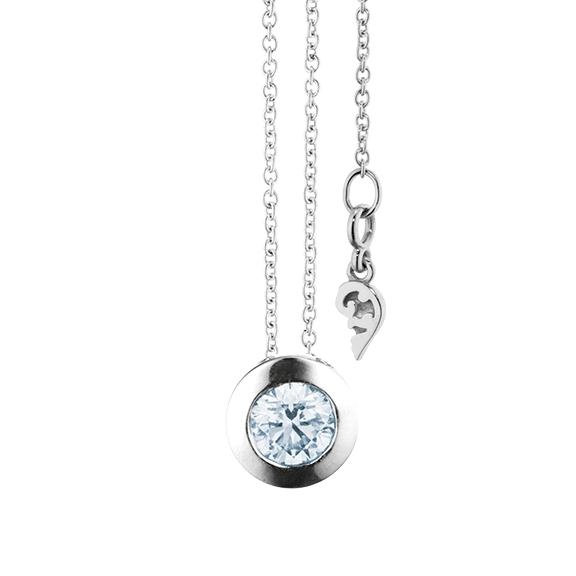 """Collier """"Diamante in Amore"""" 750WG Zargenfassun, 1 Diamant Brillant-Schliff 0.50ct TW/vs1 GIA Zertifikat, Länge 45.0 cm, Zwischenöse bei 42.0 cm"""