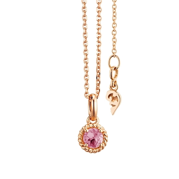 """Collier """"Amore Mio"""" 750RG 1 Saphir pink facettiert Ø 4mm ca. 0.18ct, Länge 45.0 cm, Zwischenöse bei 42.0 cm"""