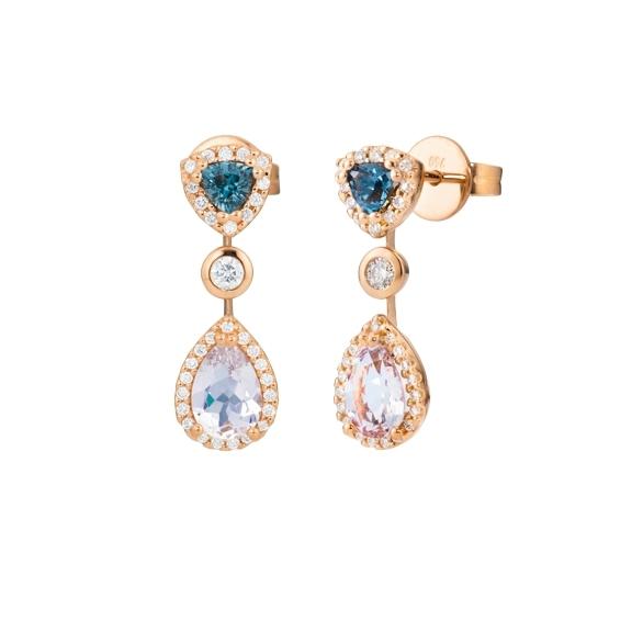 "Ohrstecker ""Espressivo"" 750RG, Morganit Tropfen 7.0 x 5.0 mm ca. 0.60ct, Topas London blue Trillion 3.5x 3.5 mm ca. 0.50ct, 64 Diamanten Brillant-Schliff 0.30ct TW/si"