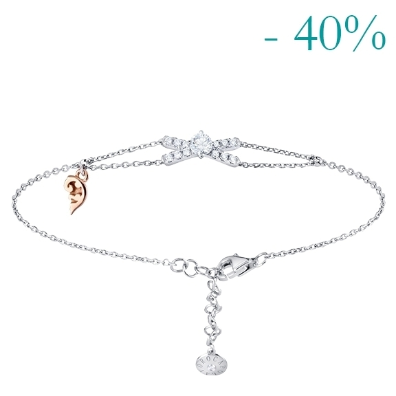 "Armband ""Romantic"" 750WG, 1 Diamant Brillant-Schliff 0.15ct TW/vs1, 13 Diamanten Brillant-Schliff 0.10ct TW/vs1"