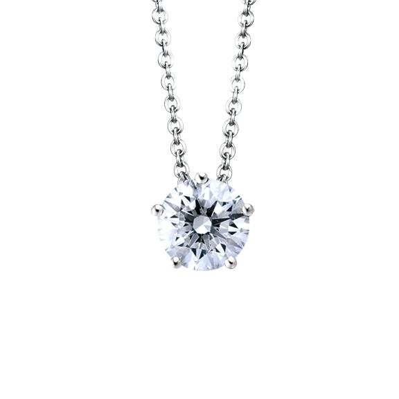 """Collier """"Diamante in Amore"""" 750WG 5-er Krappe, 1 Diamant Brillant-Schliff 1.00ct TW/vs1 GIA Zertifikat, Länge 45.0 cm, Zwischenöse bei 42.0 cm"""
