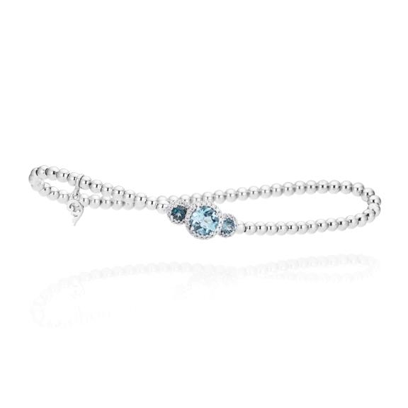 "Armband ""Espressivo"" 750WG, Topas sky blue Ø 6.0 mm ca. 1.0ct, Topas London blue Ø 3.0 mm ca. 0.30ct, 38 Diamanten Brillant-Schliff 0.15ct TW/si, Innenumfang 17.0 cm"