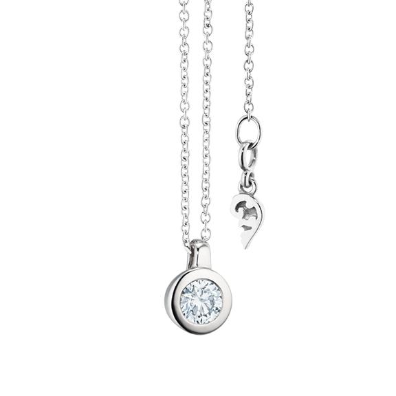 """Collier """"Diamante in Amore"""" 750WG Zargenfassung, Schlaufe, 1 Diamant Brillant-Schliff 0.25ct TW/vs1, Länge 45.0 cm, Zwischenöse bei 42.0 cm"""