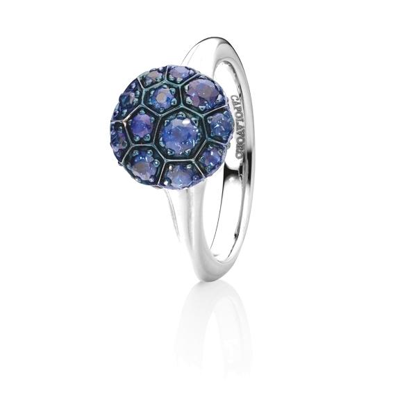 """Ring """"Fiore Magico"""" 750WG Carreaufassung, Saphir blau ca. 1.30ct"""