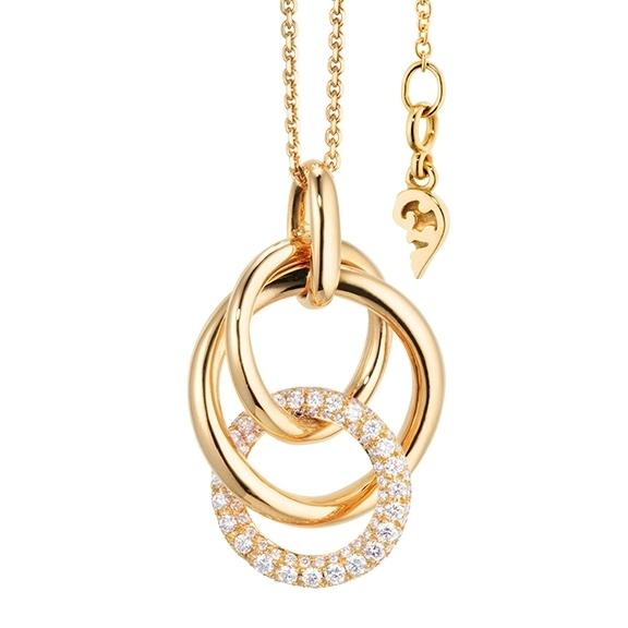 """Collier """"Cielo"""" 750GG, 98 Diamanten Brillant-Schliff 0.73ct TW/vs1, Länge 50.0 cm mit Zwischenöse bei 45.0 cm"""