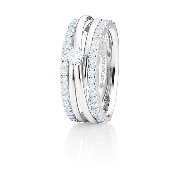 """Ring """"Magnifico"""" 750WG, 1 Diamant Brillant-Schliff 0.15ct TW/si, 58 Diamanten Brillant-Schliff 0.82ct TW/si"""