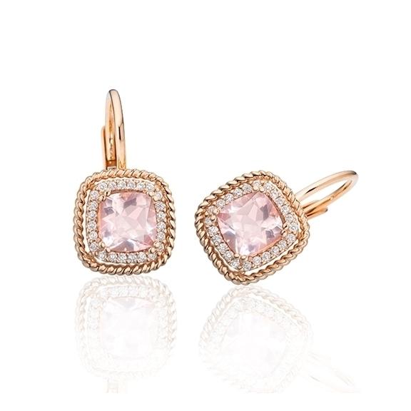 "Ohrhänger ""Amore mio"" 750RG, Rosenquarz antik 4.0 x 4.0 mm ca. 0.50ct, 32 Diamanten Brillant-Schliff 0.12ct TW/si"