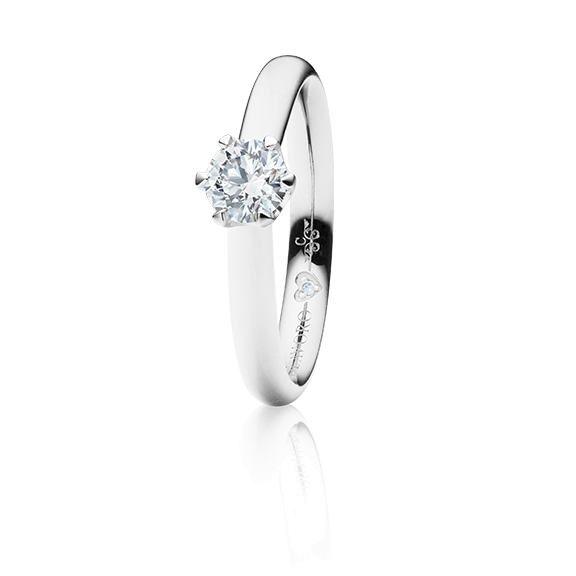 "Ring ""Endless Love"" 750WG 6-er Krappe, 1 Diamant Brillant-Schliff 0.50ct TW/vs1 GIA Zertifikat, 1 Diamant Brillant-Schliff 0.005ct TW/vs1"