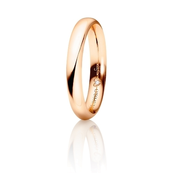 """Trauring """"Diamante in Amore"""" 750RG halbrund und innen bombiert, 1 Diamant Brillant-Schliff 0.005ct TW/vs"""
