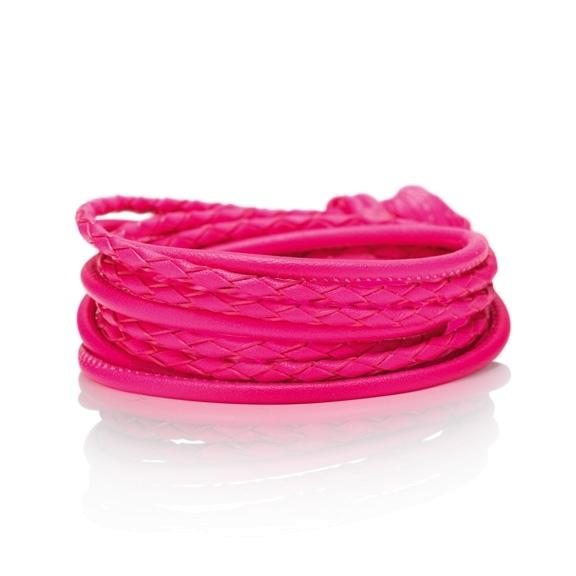 Armband Kalbsleder pink 4-reihig, Ø 3.0 mm, 42.0 cm