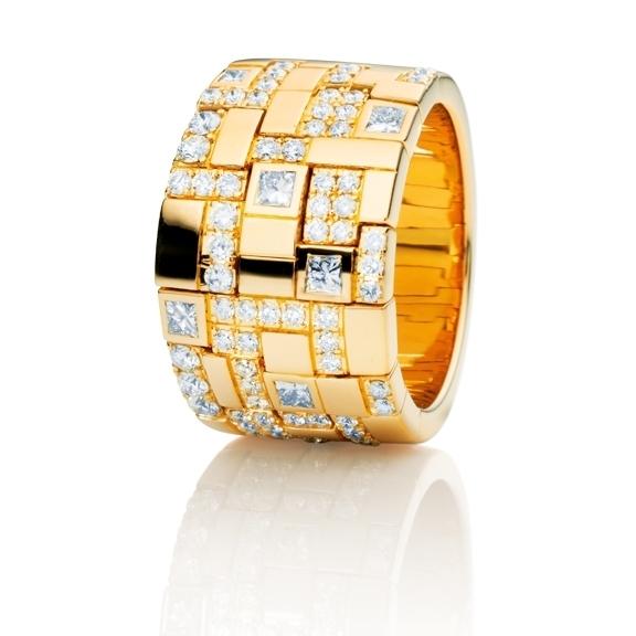 "Ring ""Palazzo"" 750GG, 6 Diamanten Princess-Schliff 0.35ct TW/vs, 66 Diamanten Brillant-Schliff 0.8ct TW/vs"