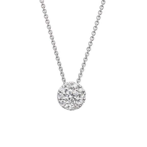 "Anhänger ""Brillantissimo"" 750WG, 1 Diamant Brillant-Schliff 0.15ct TW/vs, 10 Diamanten Brillant-Schliff 0.15ct TW/vs"