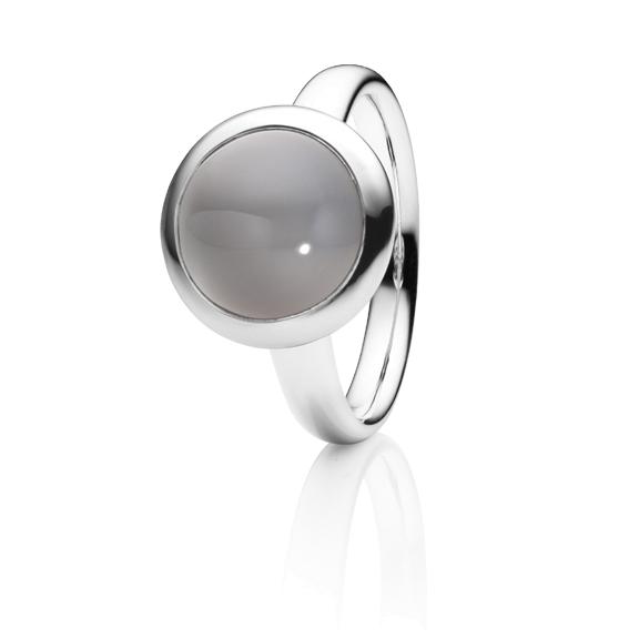 "Ring ""Velluto"" 750WG, Mondstein grau hell Cabochon Ø 11.0 mm ca. 4.5ct"