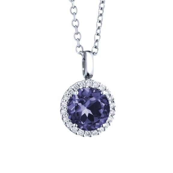 """Anhänger """"Espressivo"""" 750WG, Saphir facettiert Ø 6.0 mm, 22 Diamanten Brillant-Schliff 0.08ct TW/si"""