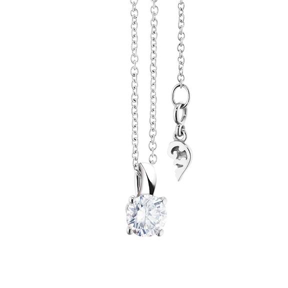 """Collier """"Diamante in Amore"""" 750WG 4-er Krappe, Schlaufe, 1 Diamant Brillant-Schliff 0.33ct TW/vs1, Länge 45.0 cm, Zwischenöse bei 42.0 cm"""