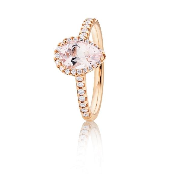 "18k Ring ""Jennifer x Espressivo"" Roségold , Morganit facettiert 9x6 mm ca. 1.09ct, 39 Diamanten Brillant-Schliff 0.26ct TW/si1"