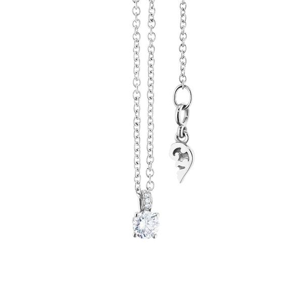 "Collier ""Diamante in Amore"" 750WG 4-er Krappe, Brillantschlaufe, 1 Diamant Brillant-Schliff 0.15ct TW/vs1, 5 Diamanten Brillant-Schliff 0.01ct TW/vs1, Länge 45.0 cm, Zwischenöse bei 42.0 cm"