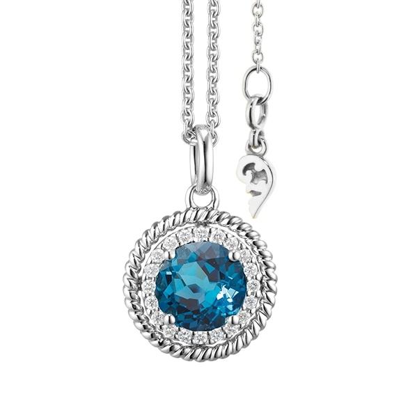 """Anhänger """"Amore mio"""" 750WG, Topas London blue facettiert Ø 6.0 mm ca. 1.00ct, 20 Diamanten Brillant-Schliff 0.08ct TW/si"""