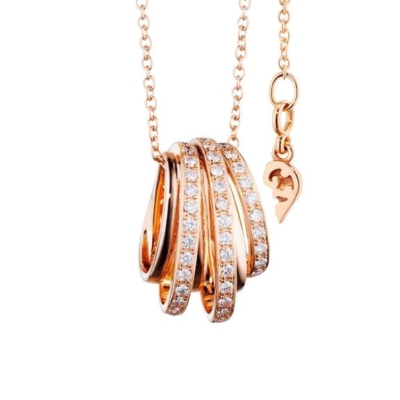 """Anhänger """"La Donna"""" 750RG, 38 Diamanten Brillant-Schliff 0.95ct TW/si"""