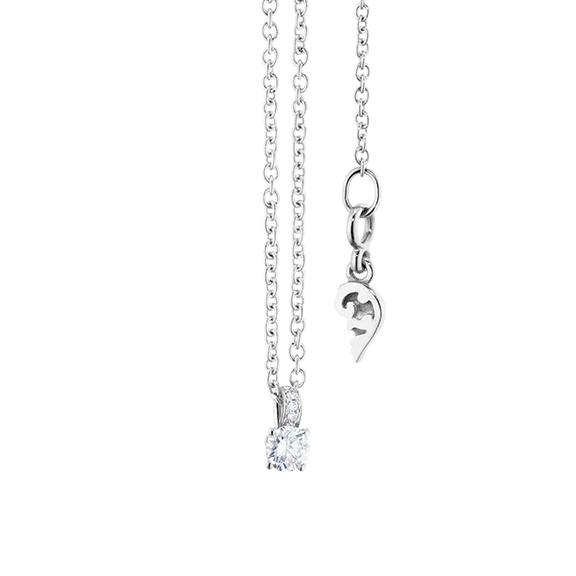 "Collier ""Diamante in Amore"" 750WG 4-er Krappe, Schlaufe, 1 Diamant Brillant-Schliff 0.05ct TW/vs1, 5 Diamanten Brillant-Schliff 0.01ct TW/vs1, Länge 45.0 cm, Zwischenöse bei 42.0 cm"
