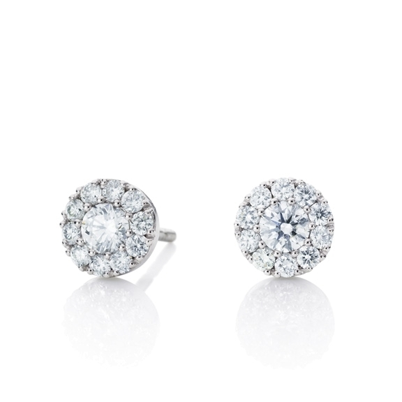 "Ohrstecker ""Brillantissimo"" Look-Like 1.00ct, 750WG, 2 Diamanten Brillant-Schliff 0.20ct TW/vs1, 20 Diamanten Brillant-Schliff 0.12ct TW/vs1"