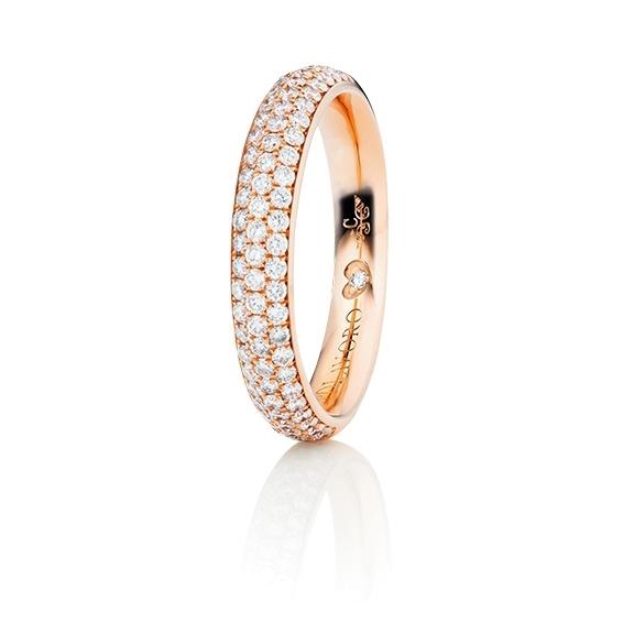 """Ring """"Diamante in Amore"""" 750RG Pavé, 76 Diamanten Brillant-Schliff 0.60ct TW/vs1, 1 Diamant Brillant-Schliff 0.005ct TW/vs1"""
