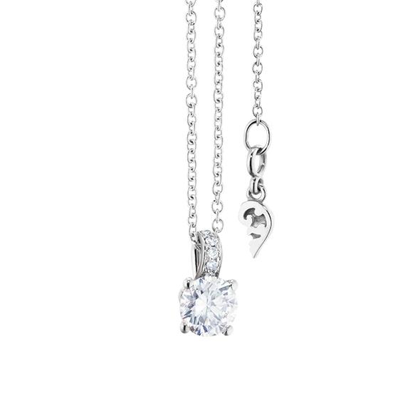 "Collier ""Diamante in Amore"" 750WG 4-er Krappe, Brillantschlaufe, 1 Diamant Brillant-Schliff 0.33ct TW/vs1, 5 Diamanten Brillant-Schliff 0.02ct TW/vs1, Länge 45.0 cm, Zwischenöse bei 42.0 cm"