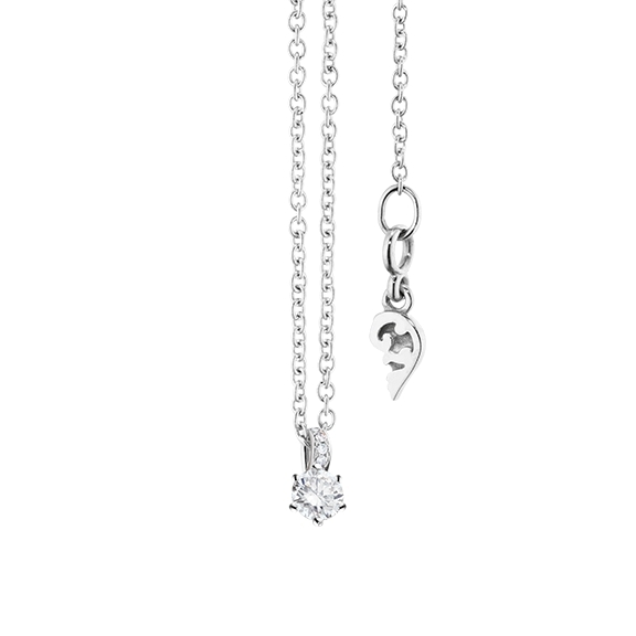 "Collier ""Diamante in Amore"" 750WG 6-er Krappe, Brillantschlaufe, 1 Diamant Brillant-Schliff 0.05ct TW/vs1, 5 Diamanten Brillant-Schliff 0.01ct TW/vs1, Länge 45.0 cm, Zwischenöse bei 42.0 cm"