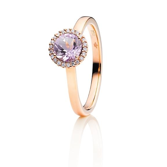"""Ring """"Espressivo"""" 750RG, Amethyst flieder facettiert Ø 6.0 mm ca. 0.69ct, 22 Diamanten Brillant-Schliff 0.06ct TW/si1"""