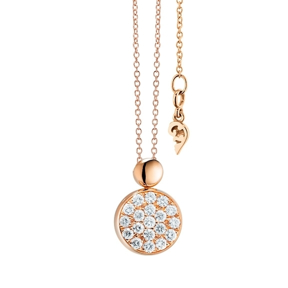"Collier ""Dolcini"" 750RG, 19 Diamanten Brillant-Schliff 0.10ct TW/vs, Länge 45.0 cm"
