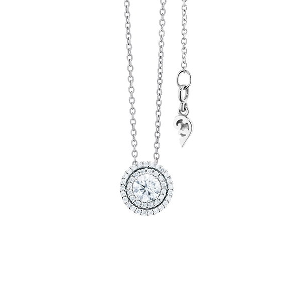 "Anhänger ""Brillantissimo 3"" 750WG, 1 Diamant Brillant-Schliff 0.25ct TW/si, 39 Diamanten Brillant-Schliff 0.15ct TW/si"