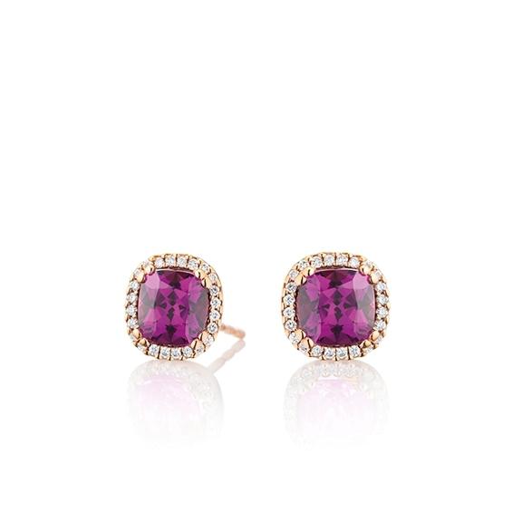 "Ohrstecker ""Espressivo"" 750RG, Granat Royal Purple antik 6.0 x 6.0 mm ca. 2.00ct, 48 Diamanten Brillant-Schliff 0.14ct TW/si"