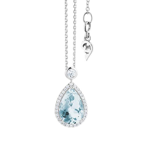 """Collier """"Espressivo"""" 750WG Topas sky blue Tropfen 12.0 x 8.0 mm ca. 3.50ct, 31 Diamanten Brillant-Schliff 0.22ct TW/si, Länge 45.0 cm Zwischenöse bei 42.0 cm"""