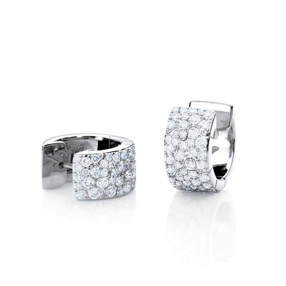"Ohrcreole ""Vulcano"" 750WG, 94 Diamanten Brillant-Schliff 1.60ct TW/vs"