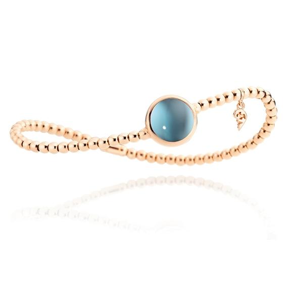 "Armband ""Velluto"" 750RG, Topas sky blue Cabochon Ø 11.0 mm ca. 6.00ct, Innenumfang 17.0 cm"
