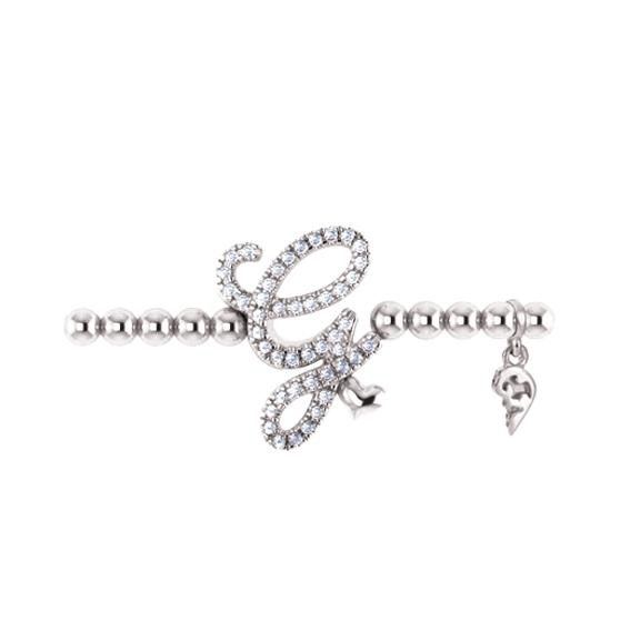 "Armband ""Poesia"" 750WG, Buchstabe ""G"", 45 Diamanten Brillant-Schliff 0.17ct TW/vs1, Innenumfang 17.0 cm"