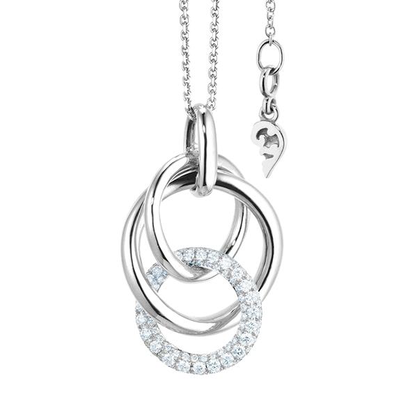 """Collier """"Cielo"""" 750WG, 98 Diamanten Brillant-Schliff 0.73ct TW/vs1, Länge 50.0 cm mit Zwischenöse bei 45.0 cm"""