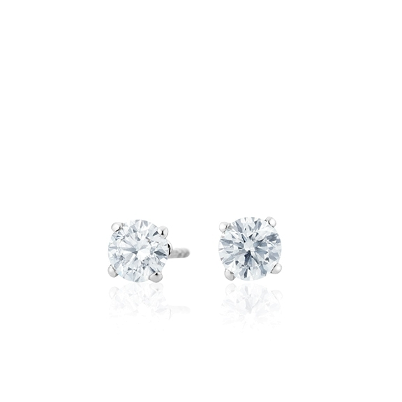 "Ohrstecker ""Diamante in Amore"" 750WG 4-er Krappe, 2 Diamanten Brillant-Schliff 0.60ct TW/vs1"