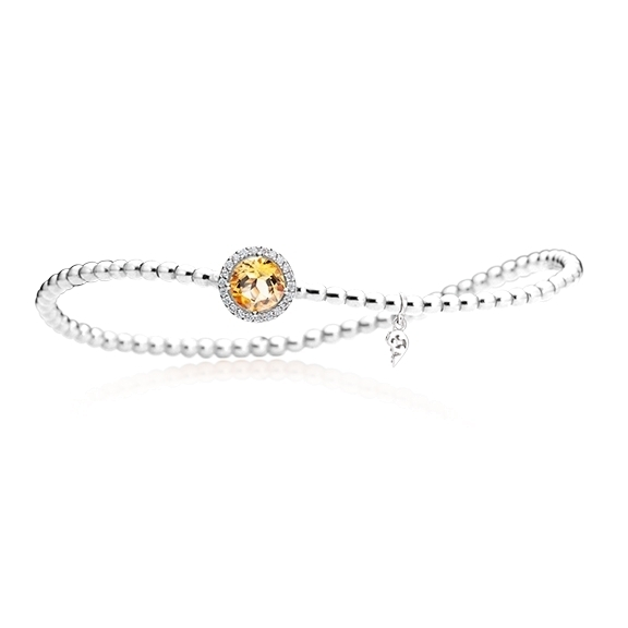"Armband ""Espressivo"" 750WG, Citrin medium facettiert Ø 6.0 mm, 22 Diamanten Brillant-Schliff 0.06ct TW/si, Innenumfang 17.0 cm"