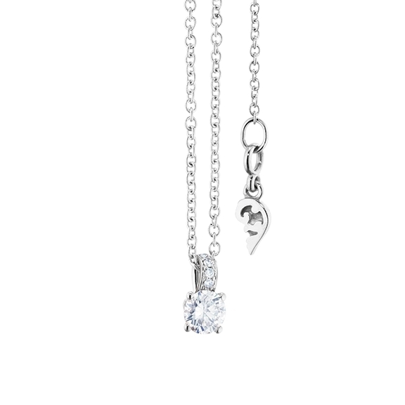 "Collier ""Diamante in Amore"" 750WG 4-er Krappe, Brillantschlaufe, 1 Diamant Brillant-Schliff 0.20ct TW/vs1, 5 Diamanten Brillant-Schliff 0.01ct TW/vs1, Länge 45.0 cm, Zwischenöse bei 42.0 cm"