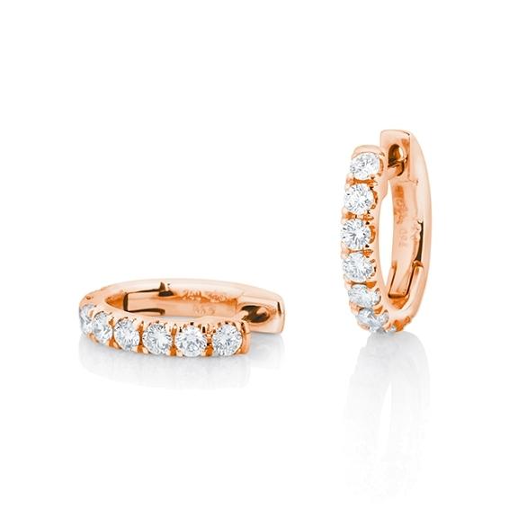 "Ohrcreolen ""Diamante in Amore"" 750RG, 16 Diamanten Brillant-Schliff 0.64ct TW/vs1"