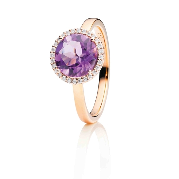 "Ring ""Espressivo"" 750RG, Amethyst medium facettiert, 28 Diamanten Brillant-Schliff 0.10ct TW/si"