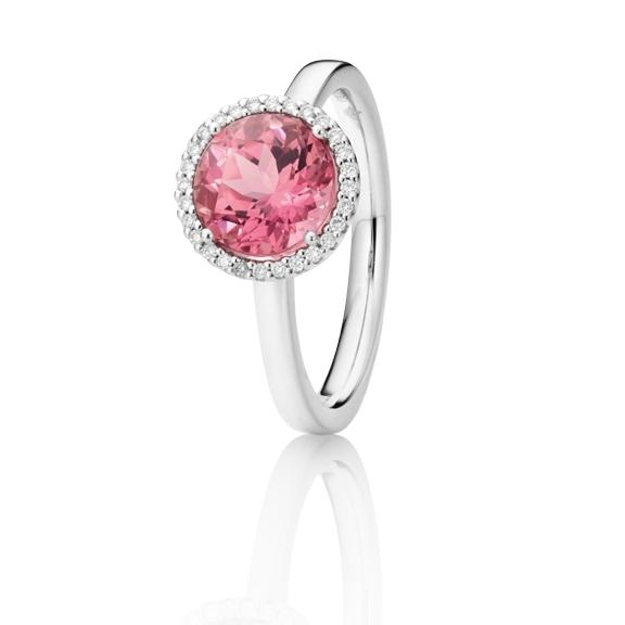 "Ring ""Espressivo"" 750WG, Turmalin pink facettiert Ø 9.0 mm ca. 2.50ct, 28 Diamanten Brillant-Schliff 0.10ct TW/si"