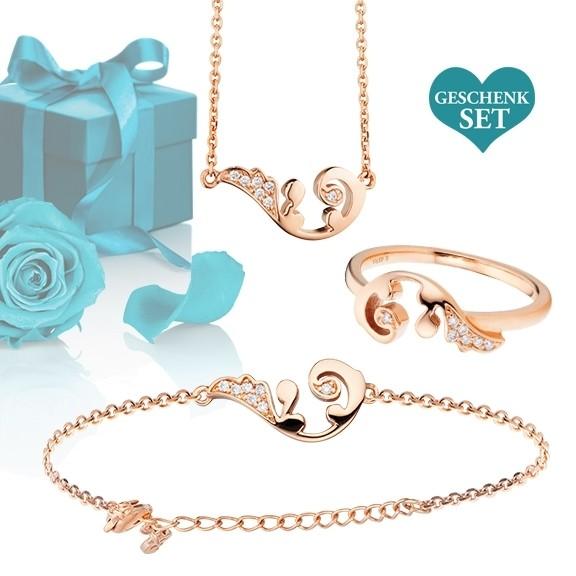"""Geschenkset """"Wing"""", Armband, Ring und Halskette 750RG, 21 Diamanten Brillant-Schliff"""