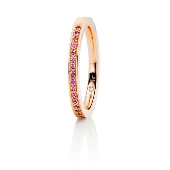 """Memoirering """"Diamante in Amore"""" 750RG Fadenfassung, 23 Saphir pink Light facettiert ca. 0.14ct , 1 Diamant Brillant-Schliff 0.005ct TW/vs1"""