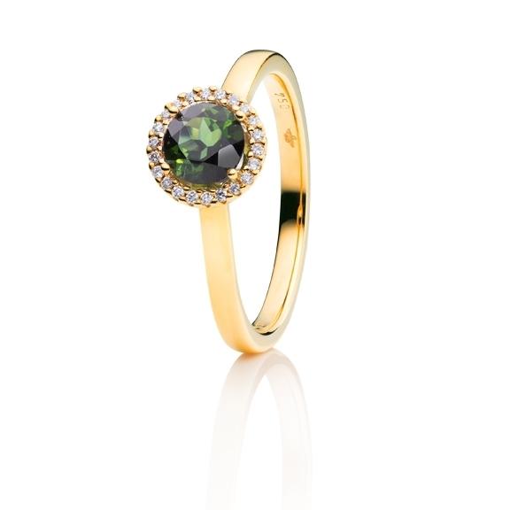 "Ring ""Espressivo"" 750GG, Turmalin grün facettiert Ø 6.0 mm, 22 Diamanten Brillant-Schliff 0.06ct TW/si"