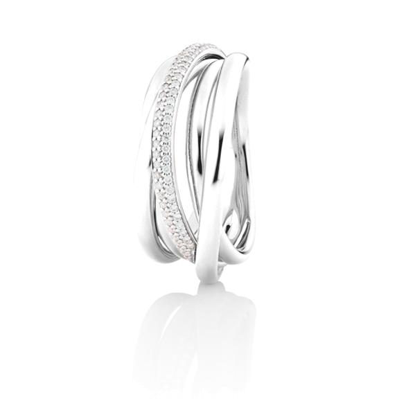 "Ring ""Cielo"" 750WG, 61 Diamanten Brillant-Schliff 0.20ct TW/si"