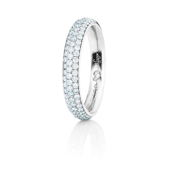 "Ring ""Diamante in Amore"" 750WG Pavé, 76 Diamanten Brillant-Schliff 0.60ct TW/vs1, 1 Diamant Brillant-Schliff 0.005ct TW/vs1"