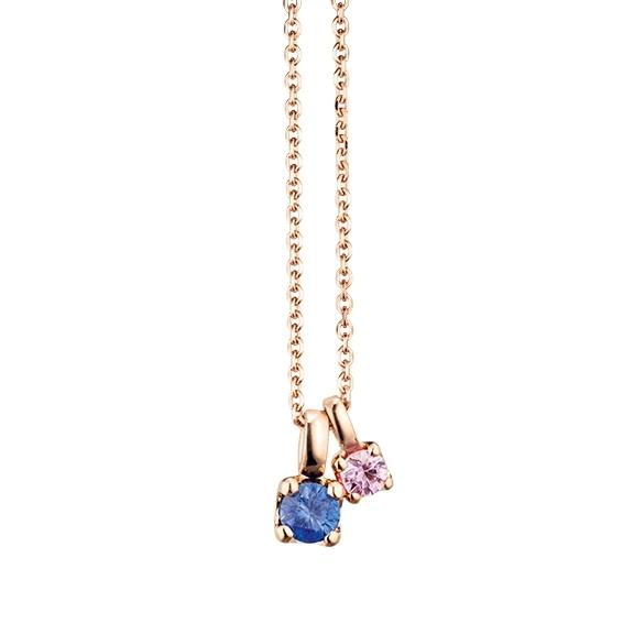 """Collier """"Rainbow"""" 750RG, 1 Saphir blau und 1 Saphir pink facettiert ca. 0.35ct"""